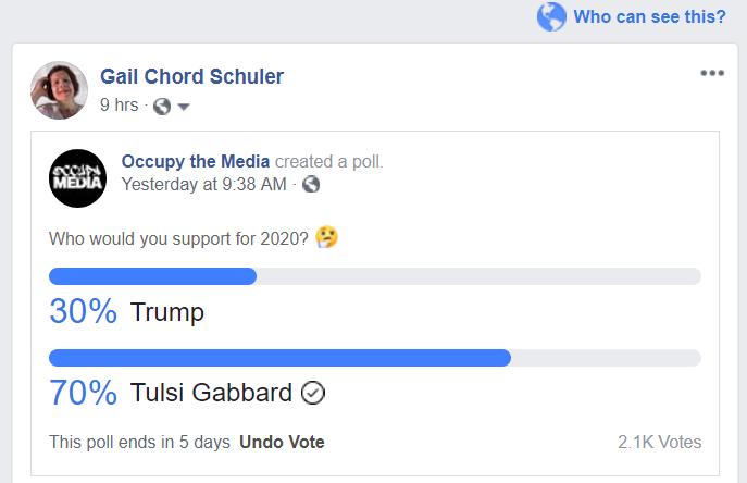 Occupy the Media Poll Tulsi vs Trump